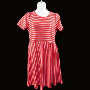 LulaRoe Amelia Fit and Flare Pocketed Dress Plus Size 2XL Red White Stripe